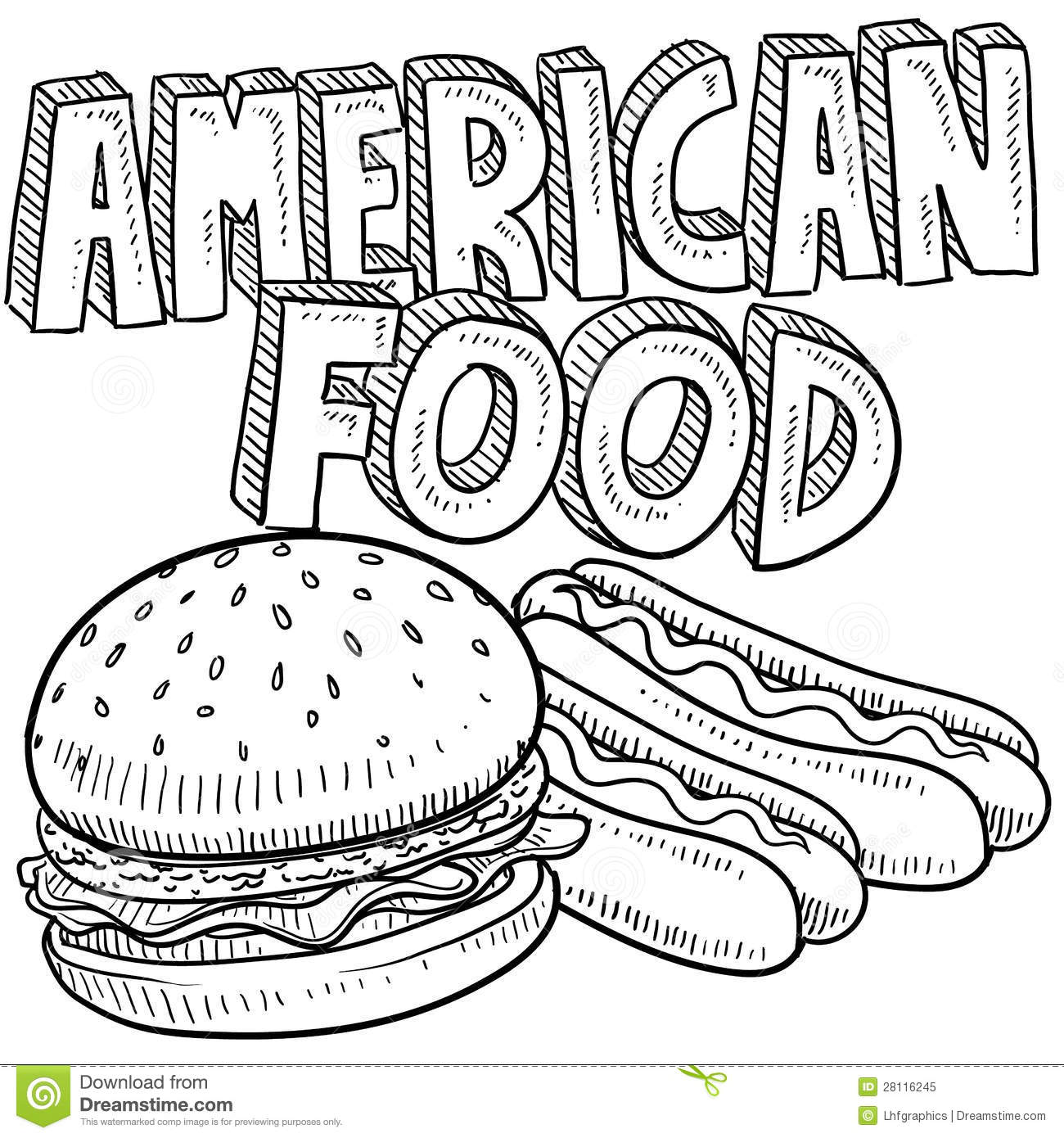 America Food Sketch Stock Vector. Illustration Of Drawing - 28116245