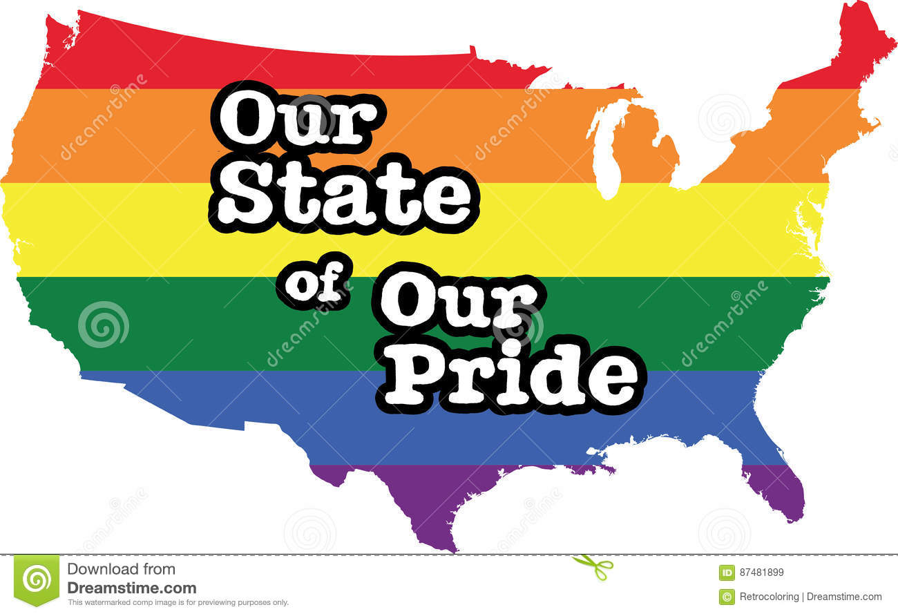 Country Map Of America.America Gay Pride Vector Country Map Stock Vector Illustration Of