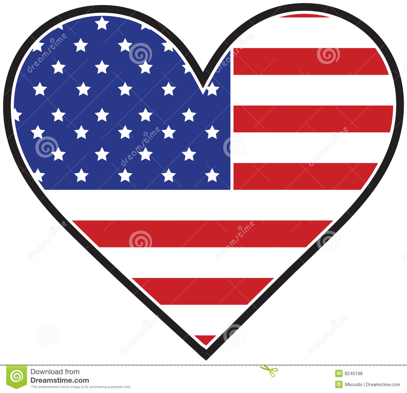America Heart Flag Royalty Free Stock Photos - Image: 8240198