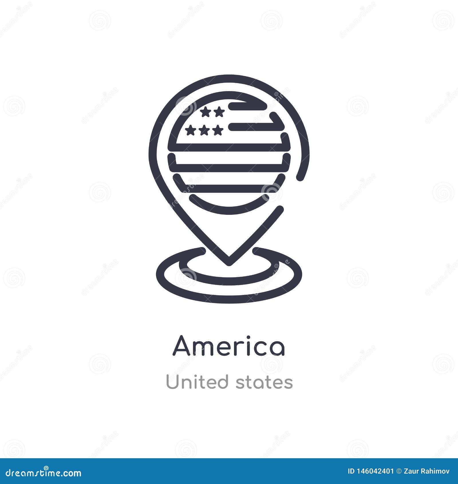 America konturu ikona odosobniona kreskowa wektorowa ilustracja od zlanych stan?w inkasowych editable cienieje uderzenia America