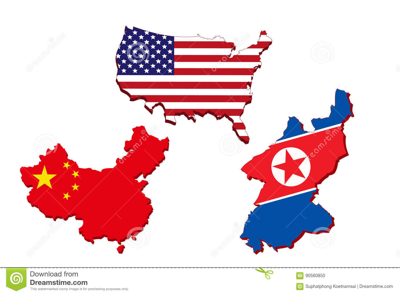 Chinese Map Of America.America Map Chinese Map And North Korea Map Stock Illustration