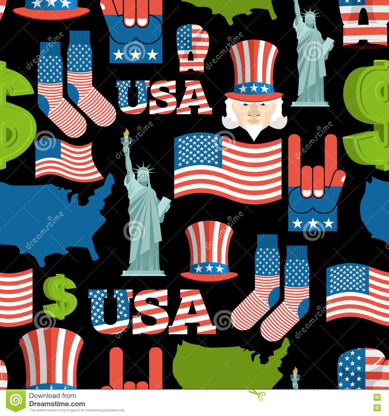 America Symbols Patriotic Pattern USA National Ornament Stock - Us map with state flags