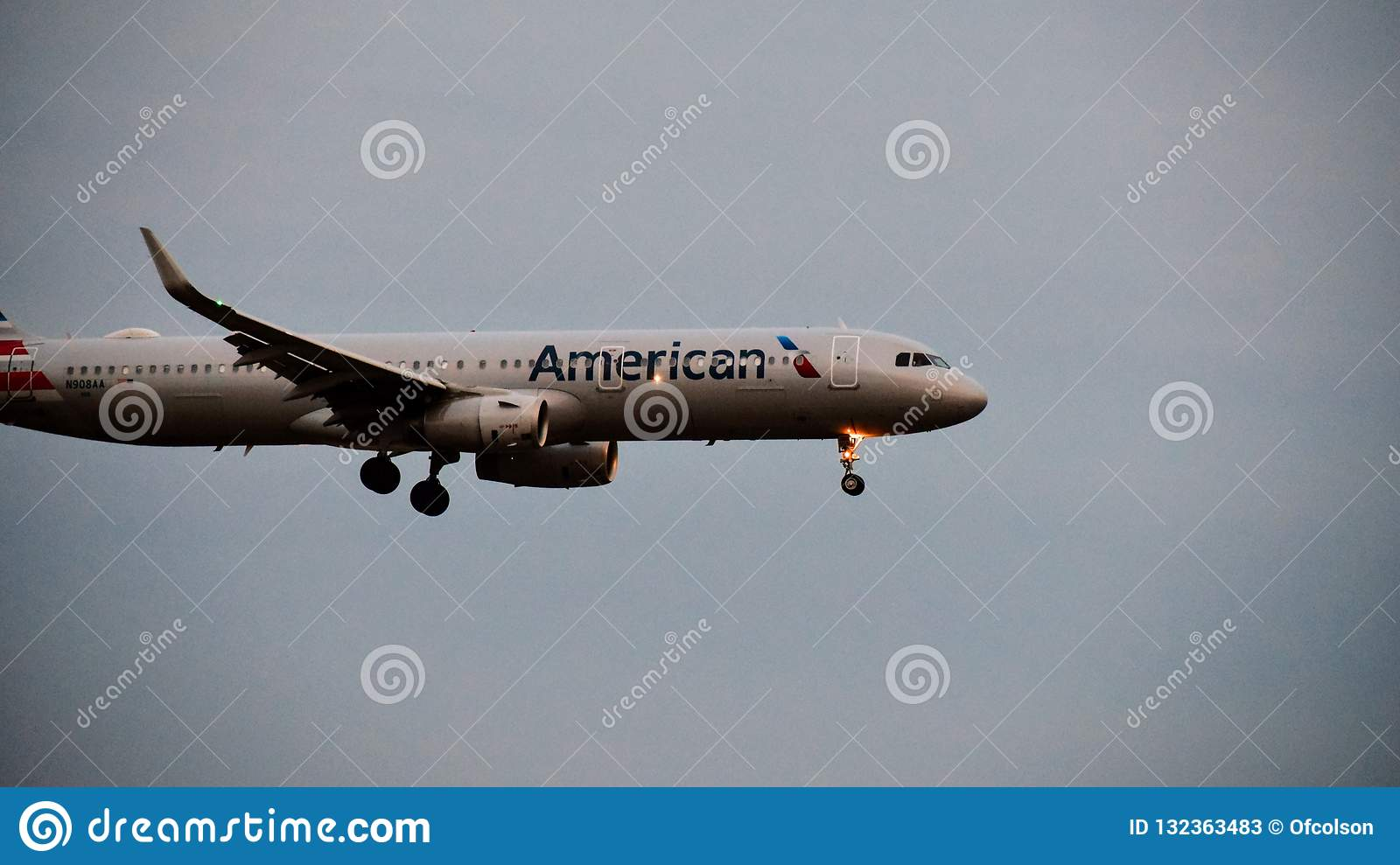 American Airlines Airbus Airplane Coming In For A Landing
