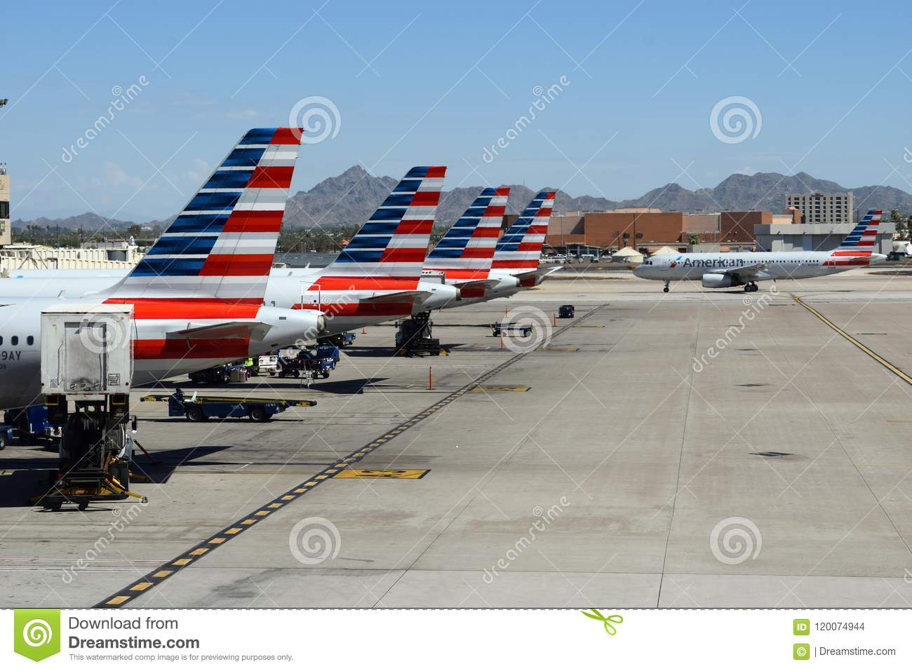 newest b3c64 d6bdb Four American Airlines aircraft with red white and blue livery lined up at  Sky Harbor gates with a fifth aircraft on the ramp jetway runway tarmac  taxiway ...