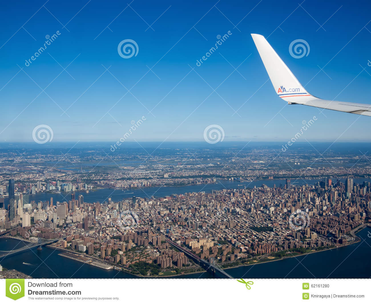 American Airlines plane flying over New York City