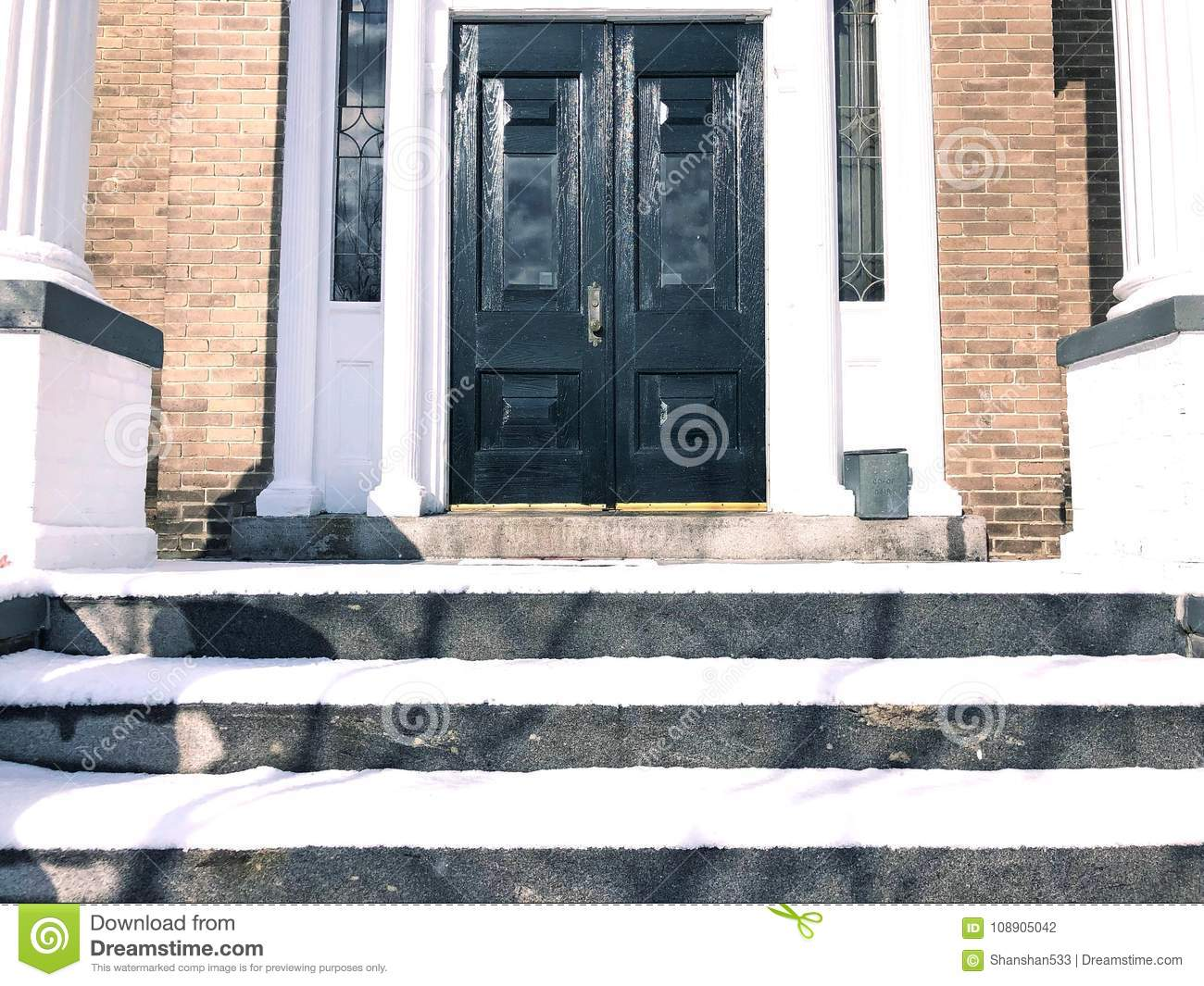 American Apartment House Front Stock Photo - Image of green ...