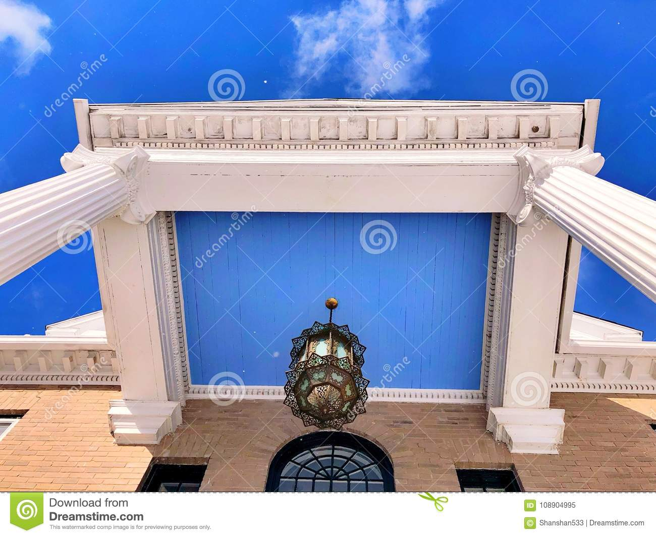 American Apartment House Front Gate Roof Stock Image - Image ...