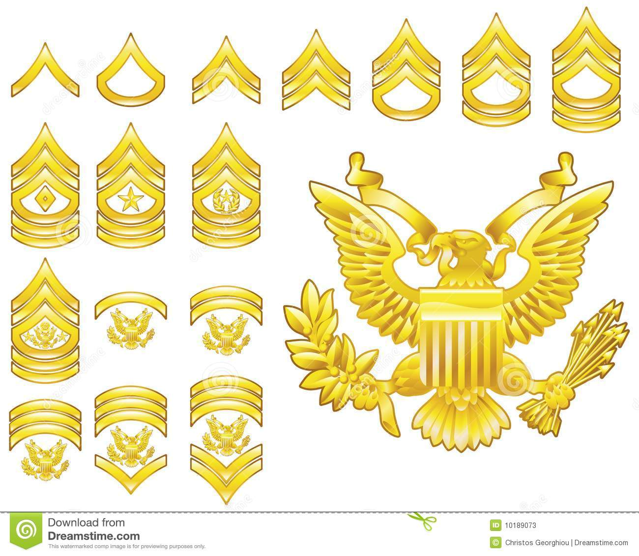 American Army Enlisted Rank Insignia Icons Stock Vector