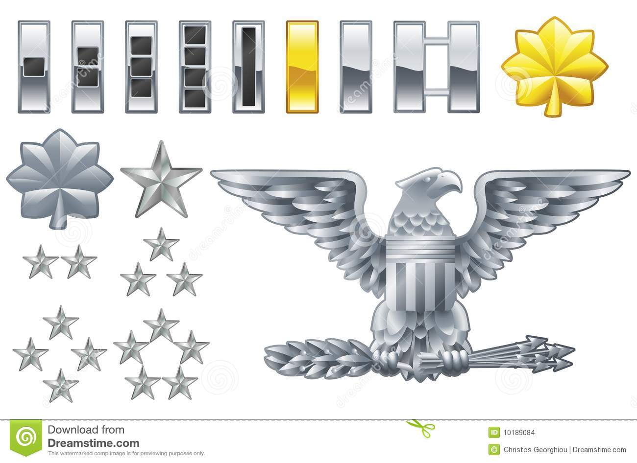American Army Officer Ranks Insignia Icons Stock Images - Image ...