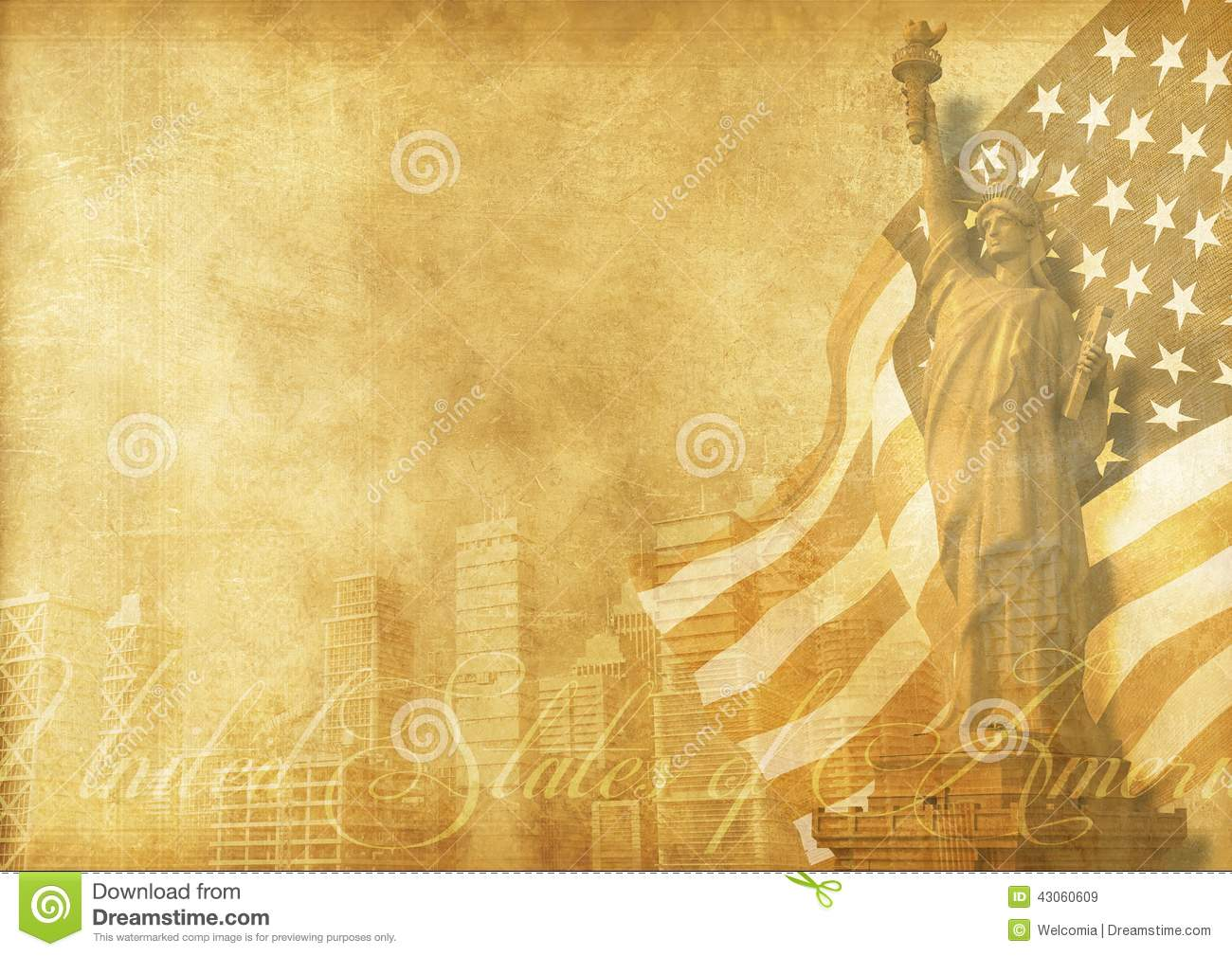 ... , American Flag and American City Skyline. Vintage Old Paper Design