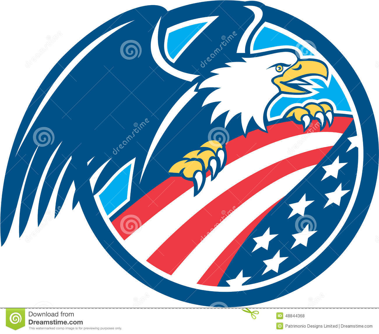 bald eagle and usa flag stock photo cartoondealercom
