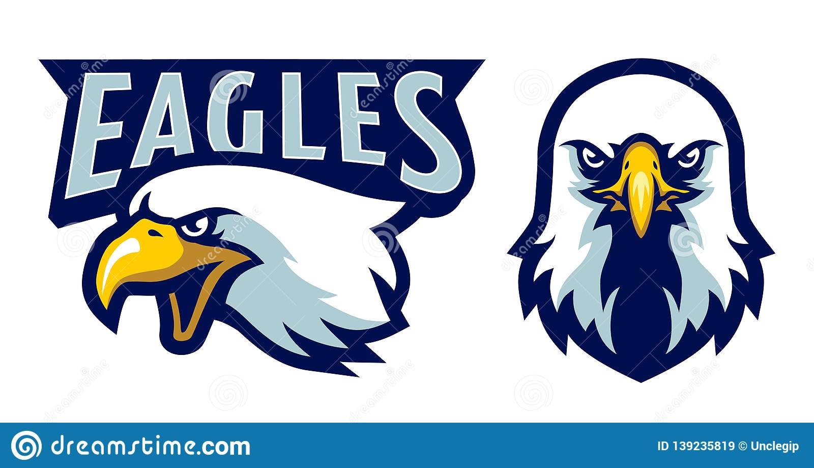American Bald Eagle Head Logo Mascot In Cartoon Style Stock