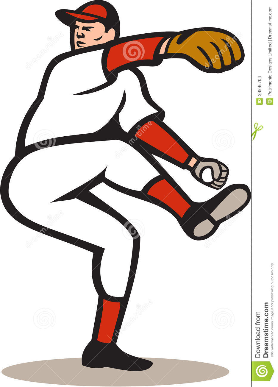 Illustration of a american baseball player pitcher ...
