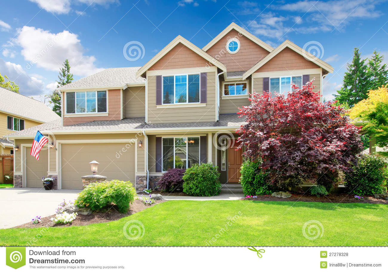 American Beige Luxury Large House Front Exterior. Royalty Free Stock ...