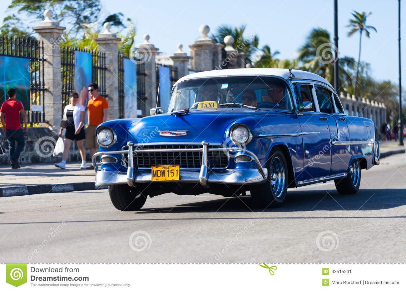 american blue classic car as taxi in havana city on the malecon editorial photo image of. Black Bedroom Furniture Sets. Home Design Ideas