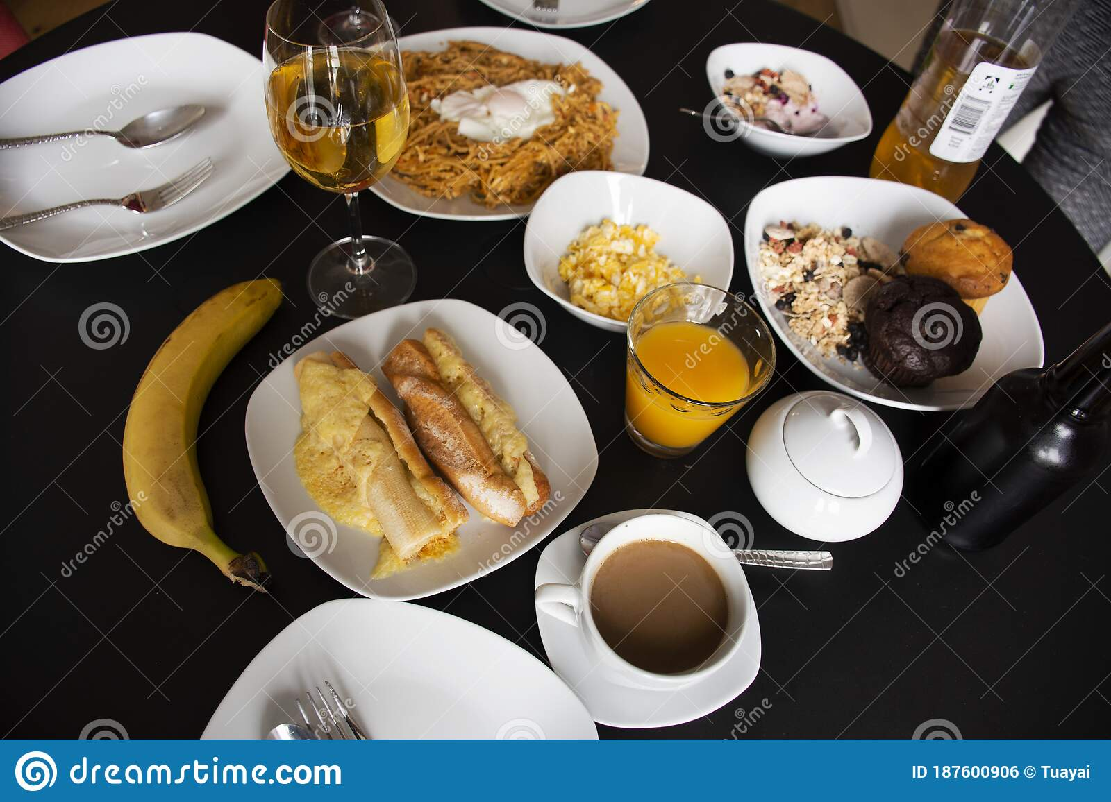 American Breakfast Or Continental Breakfasts German Style In Dining Room In Morning Time For Travelers And Guest People Eat And Stock Photo Image Of Appetizer Germany 187600906