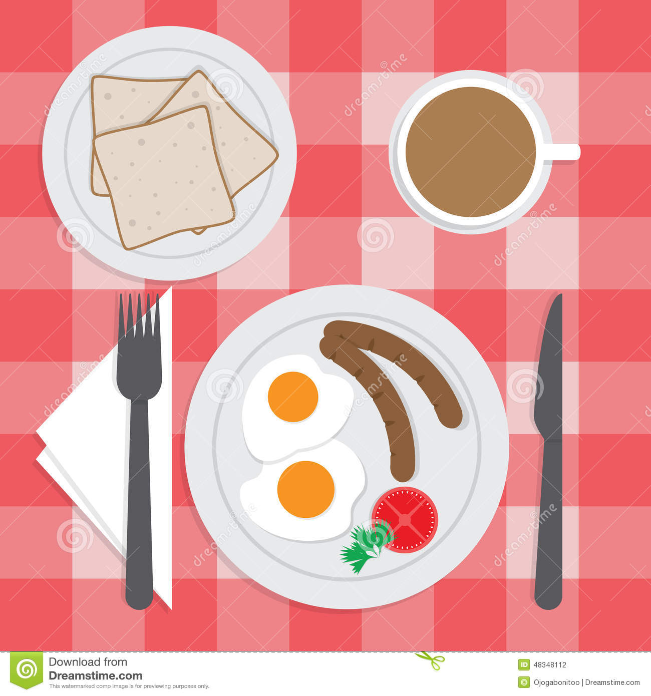 American Breakfast Set On The Table, Fried Egg, Sausages, Bread ...