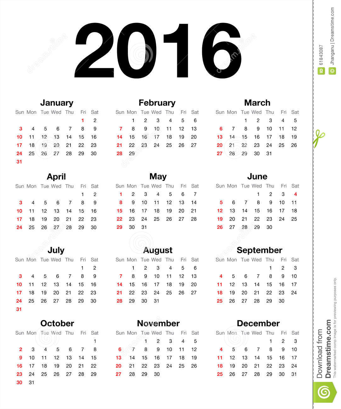 American Calendar For 2016 Stock Vector - Image: 61843087