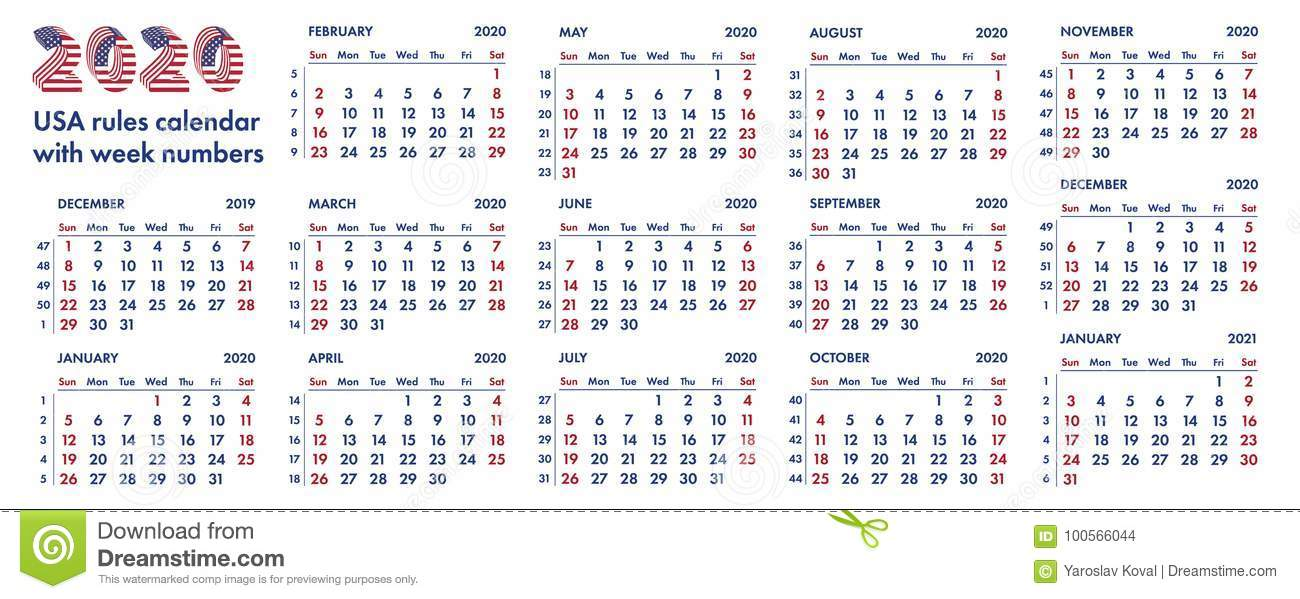 2020 Calendar With Weeks 2020 American Calendar Weeks Illustration Stock Illustration