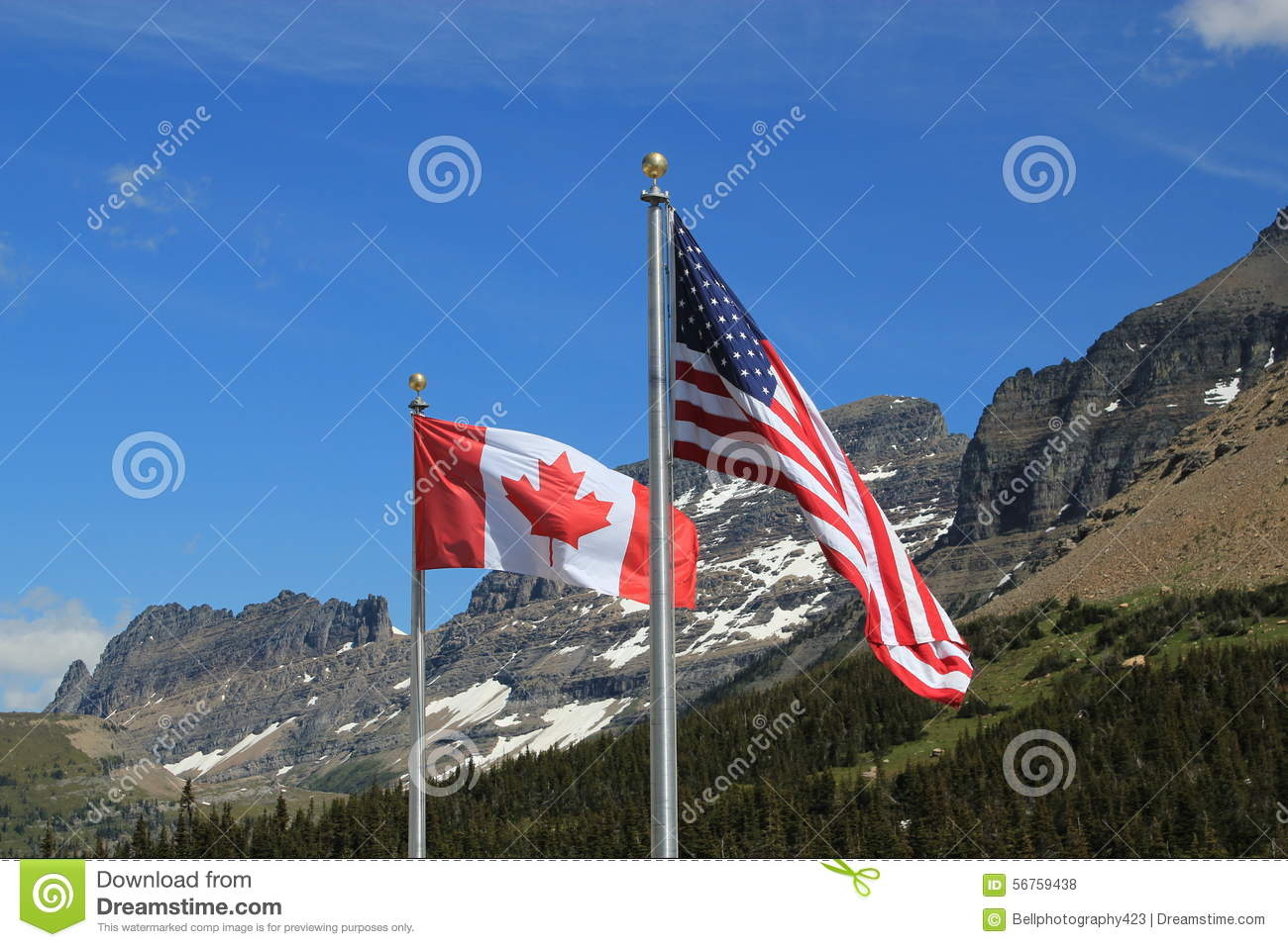 american and canadian flags stock photo image 56759438