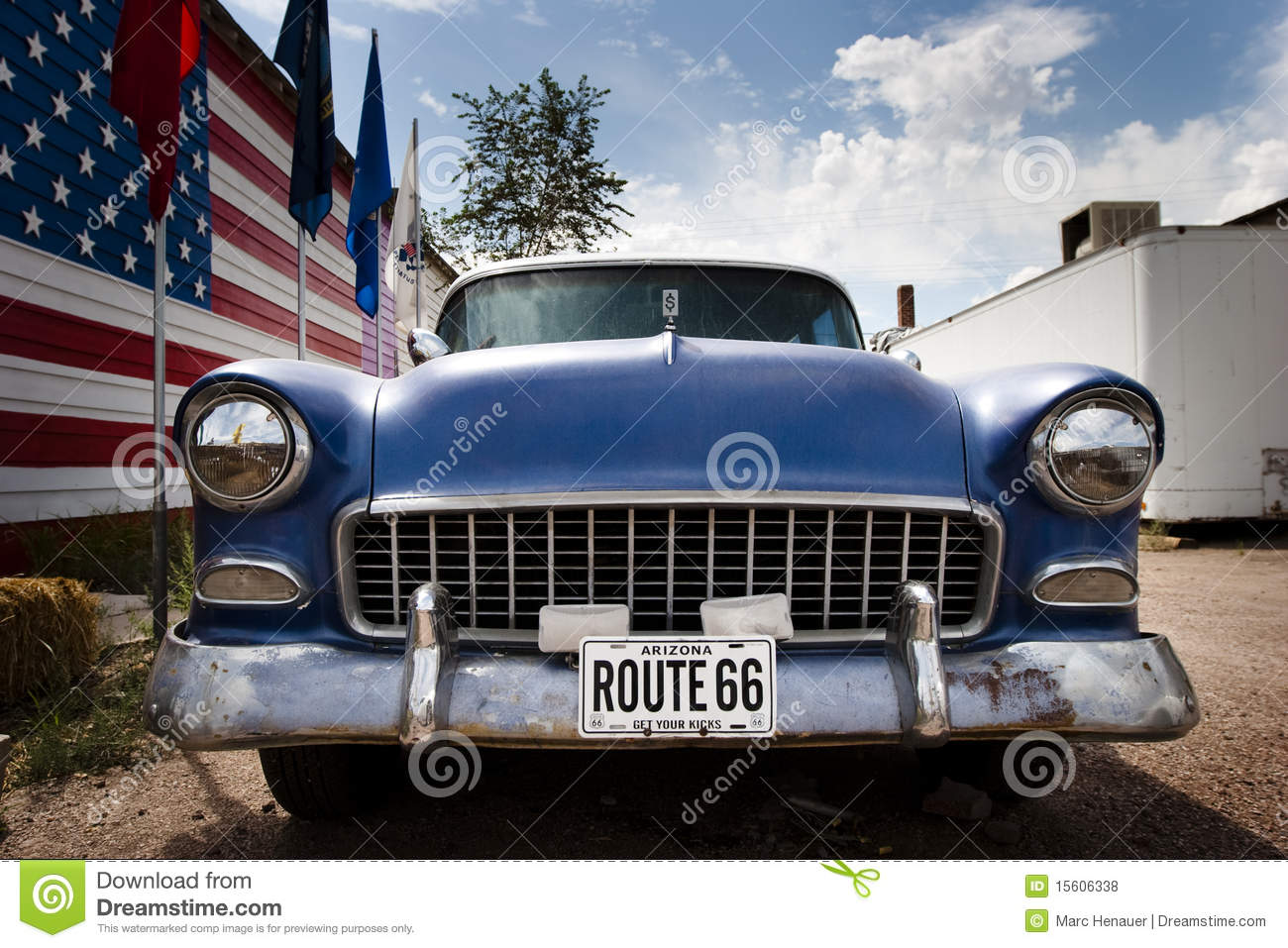 American car and flag USA on route 66