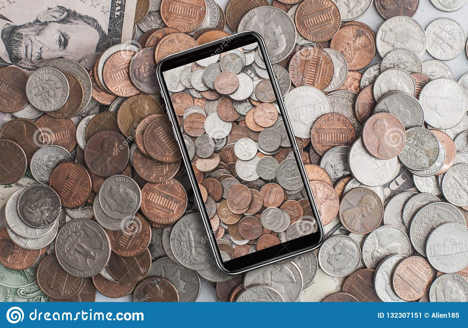 American Cents On Cell Phone Stock Image - Image of mobile