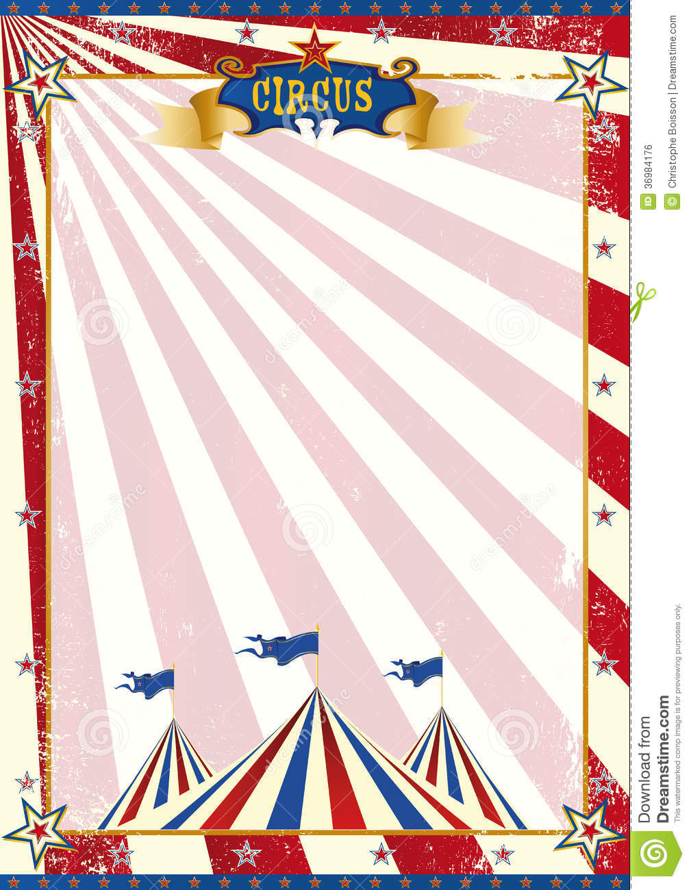 Vintage Circus Poster Background American Circus Grunge...