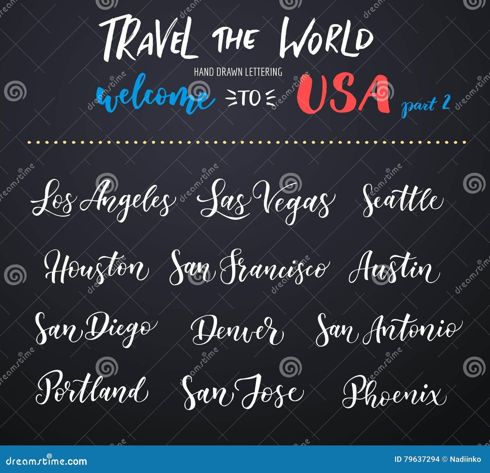 American City Vector Lettering  Typography, USA - Los