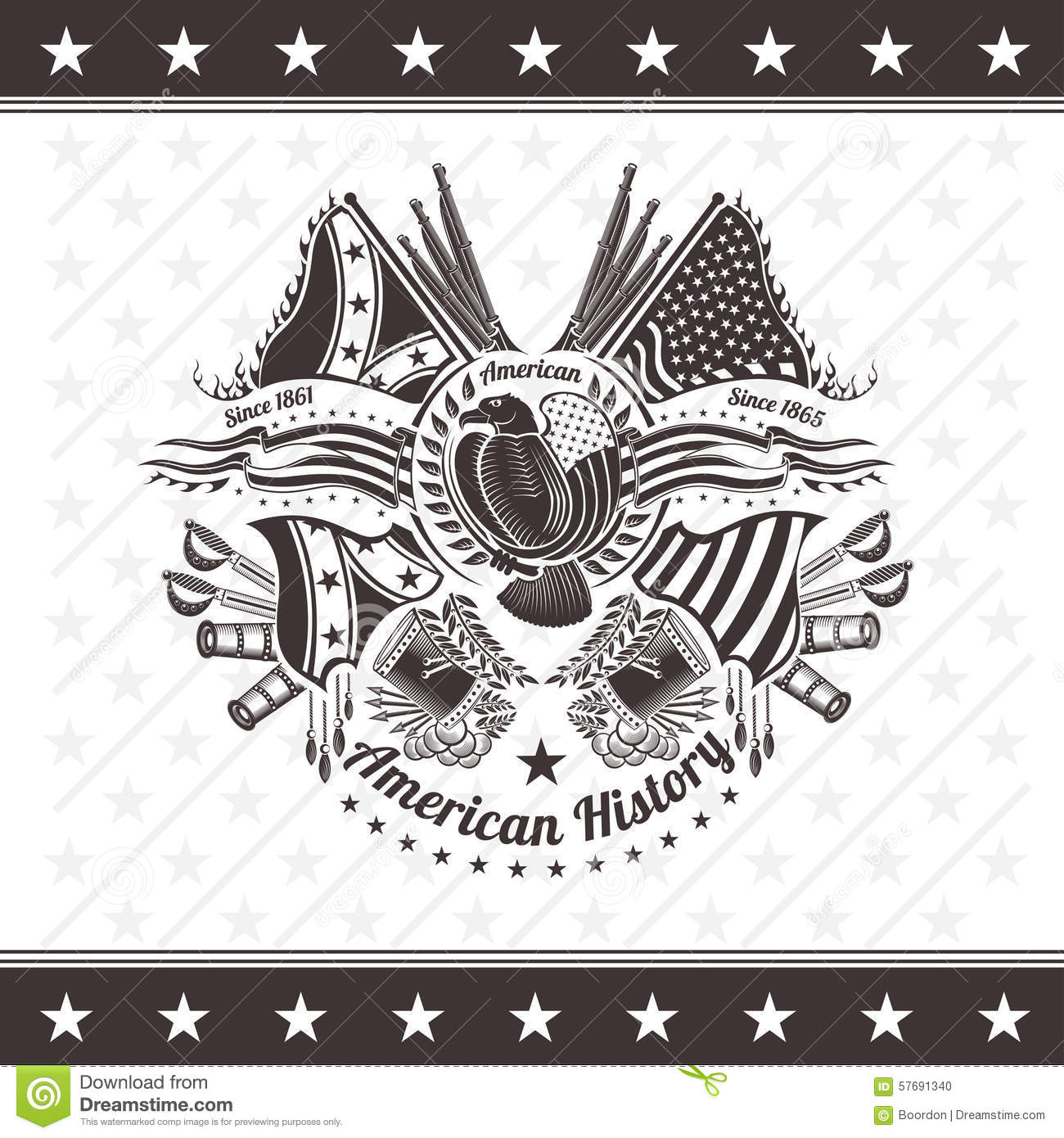 Stock vector american civil war military background coat of arms with
