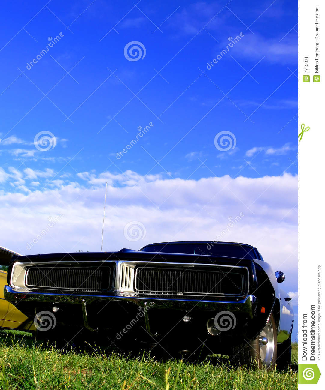 American classic car black muscle on grass stock image for American classic automotive