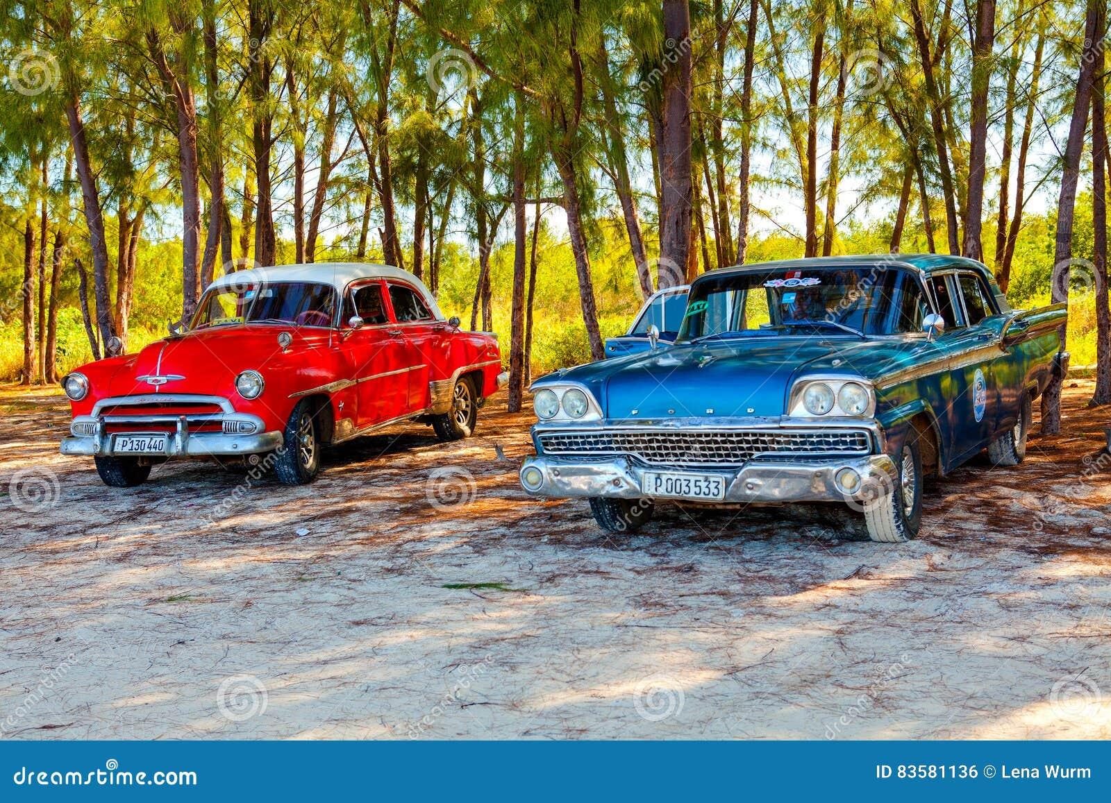 American Classic Cars On The Beach Cayo Jutias Editorial Photo