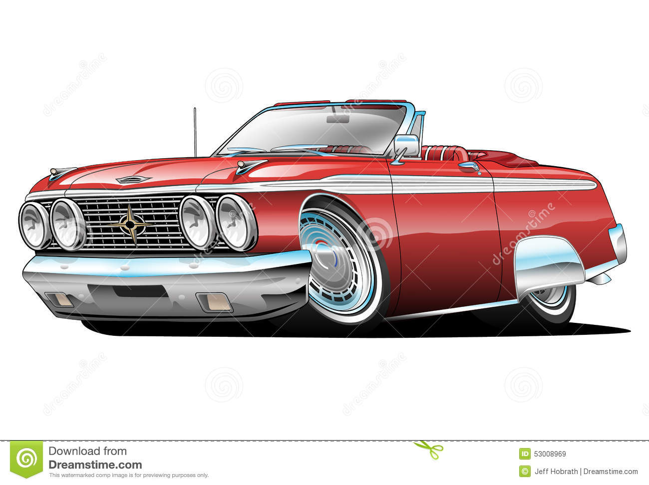 American Classic Convertible Muscle Car Cartoon Stock Illustration ...
