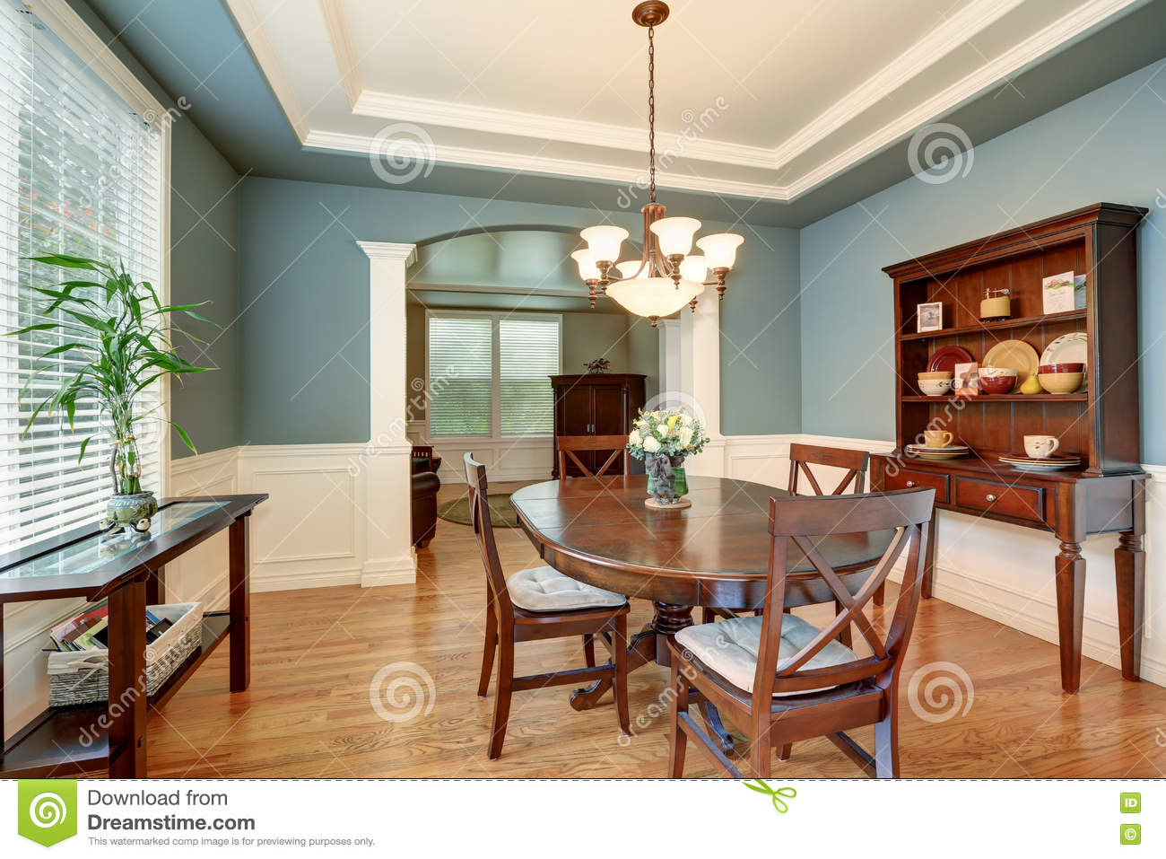 American Classic Dining Room Interior With Green Walls Corner Architect