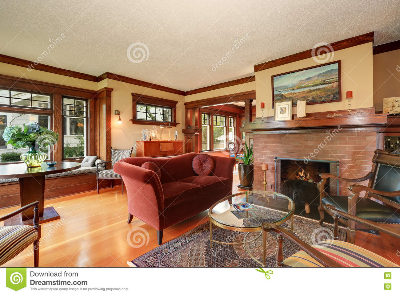 American classic living room interior design stock image for American classic interior