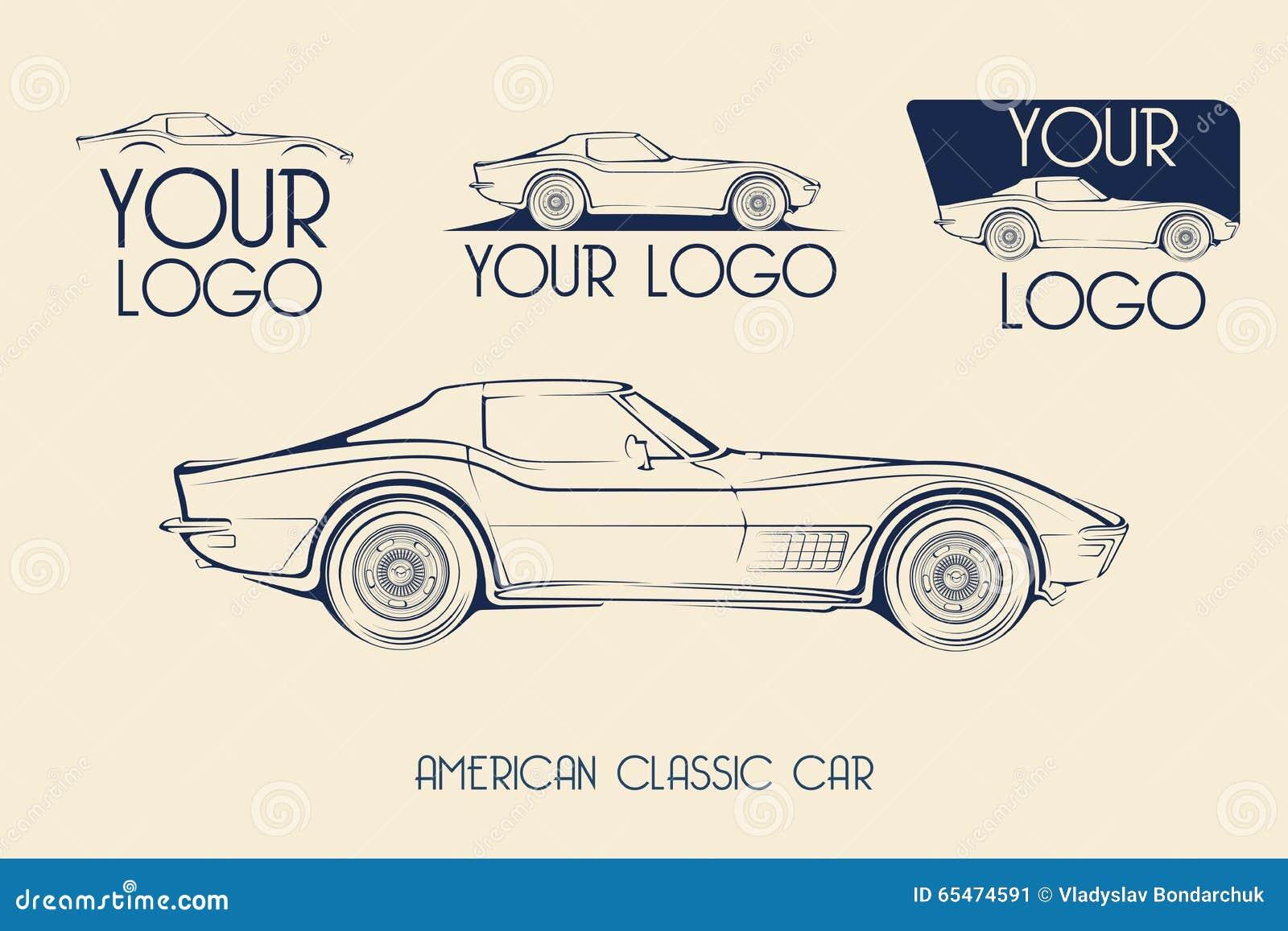 American classic sports car silhouettes logo stock for American classic logo
