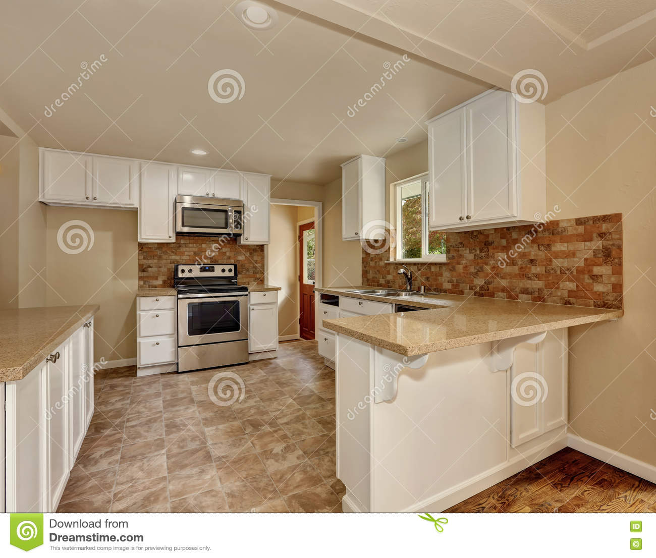 Orange Kitchen Room With White Cabinets Stock Image: American Classic Style Kitchen Room Interior Stock Photo