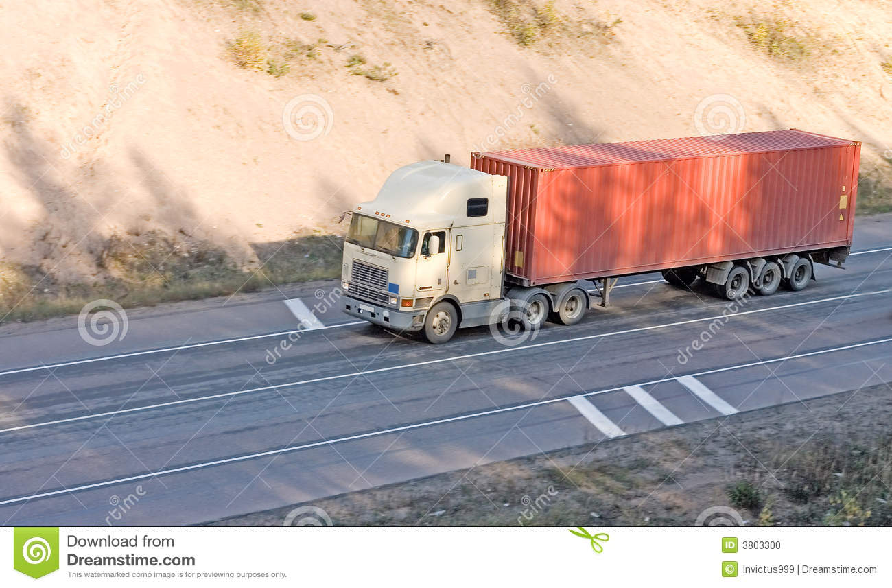 American Container Truck On Road Stock Photo - Image: 3803300
