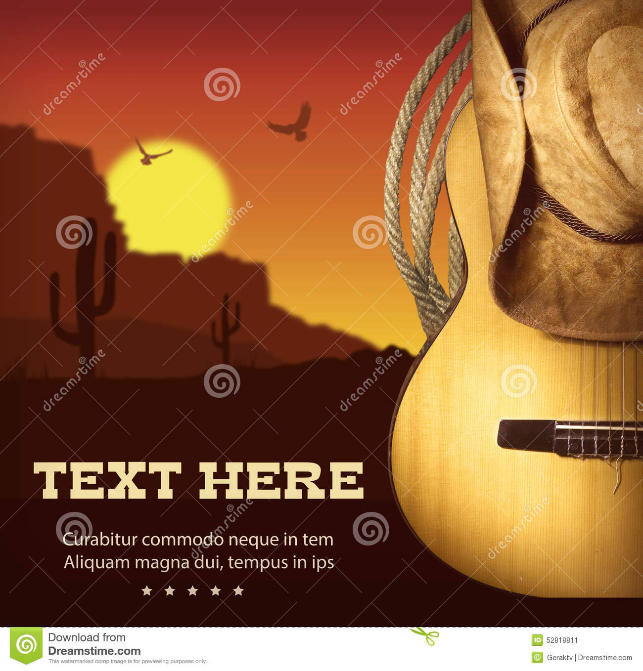 Vintage poster with cowboy clothes and music guitar stock vector.