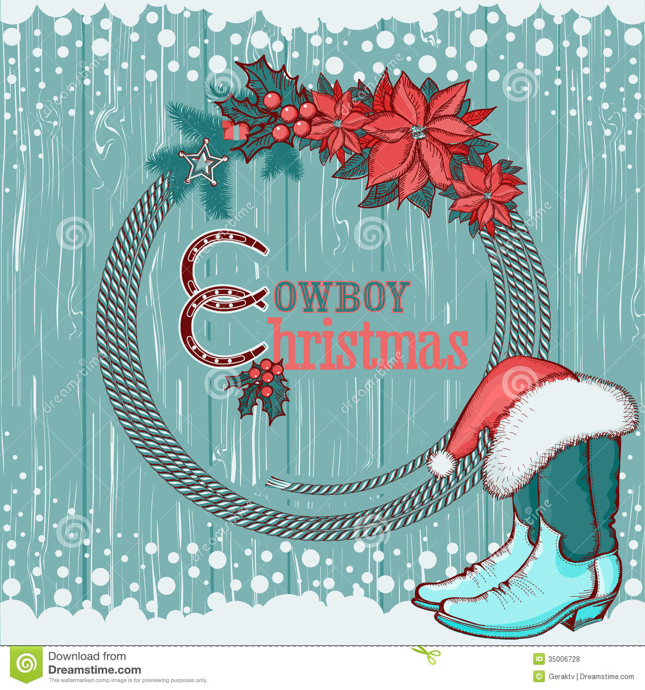 American Cowboy Christmas Background On Wood Royalty Free