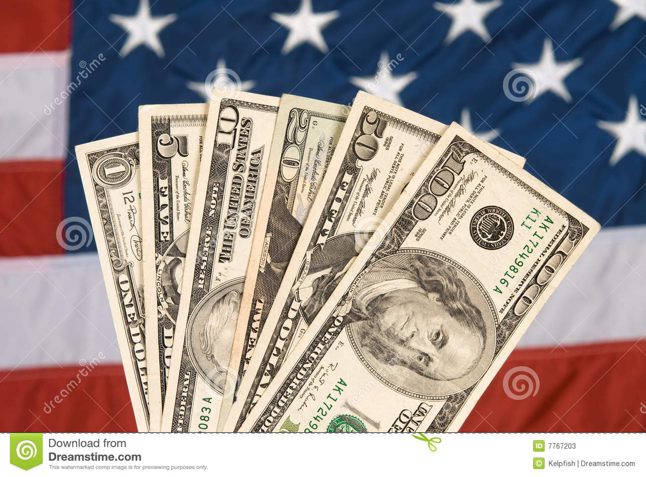 Download American currency and flag stock image. Image of shot - 7767203