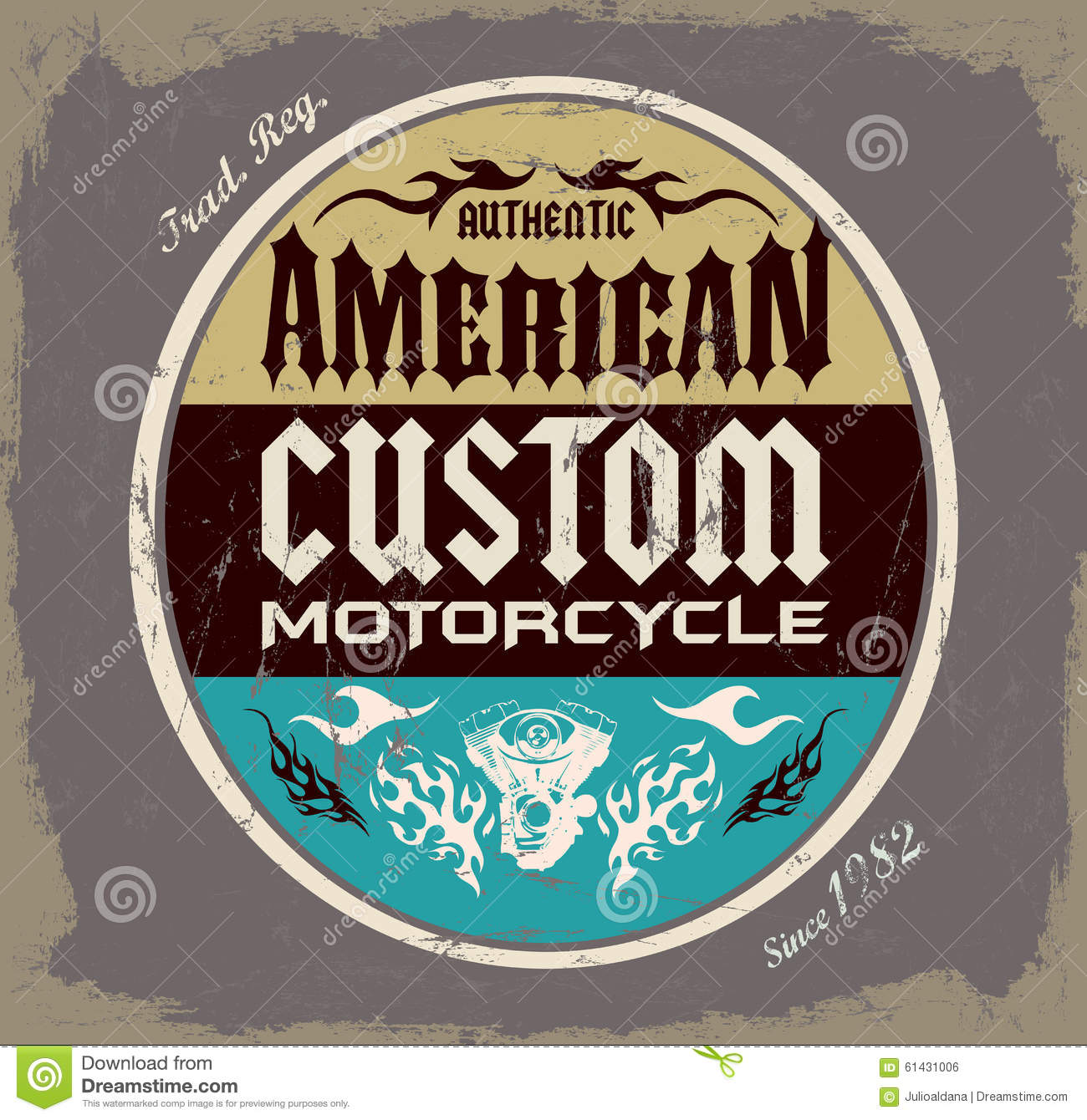 American Custom - Chopper Motorcycle Badge Stock ...