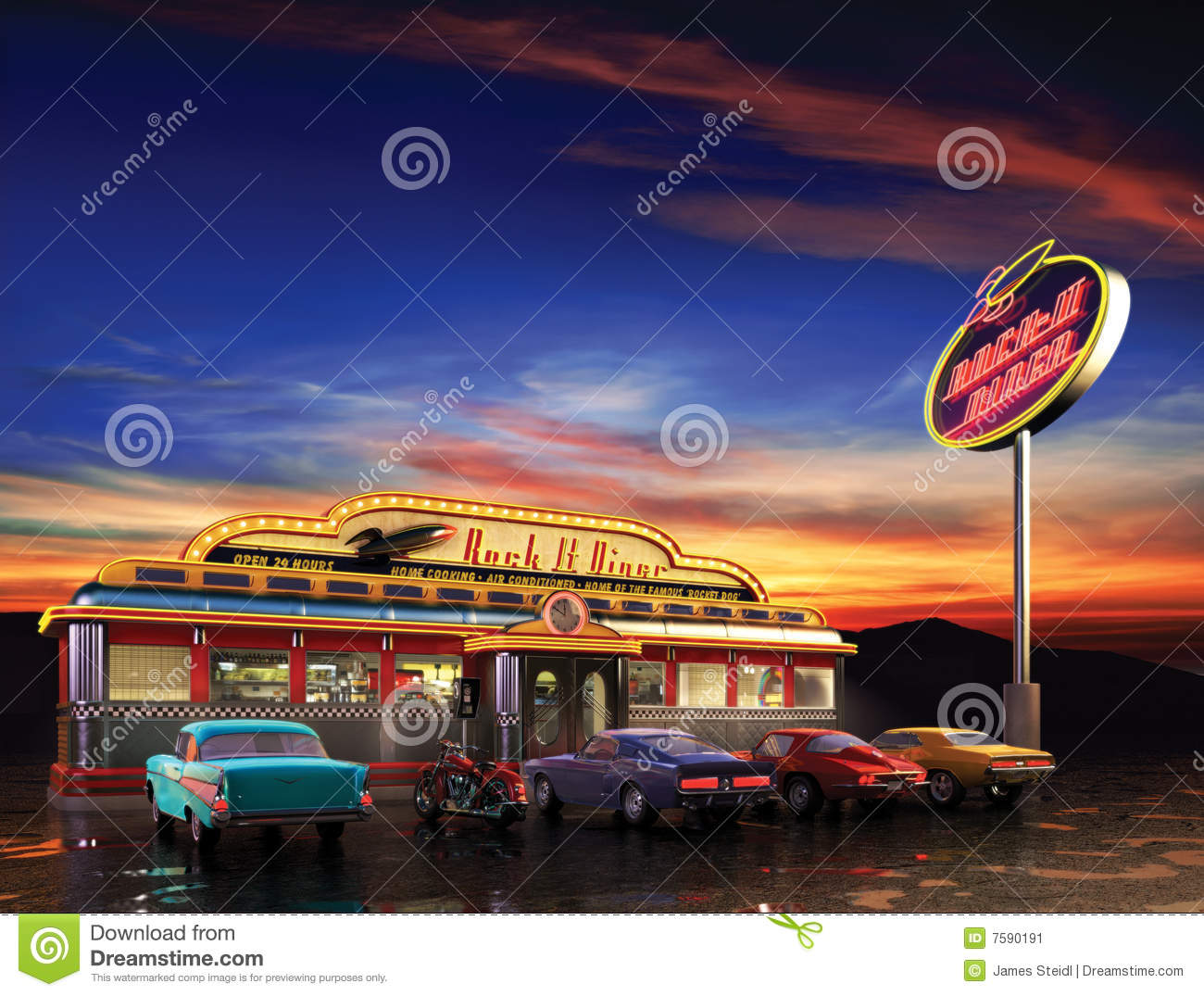 American Diner Stock Image Image 7590191