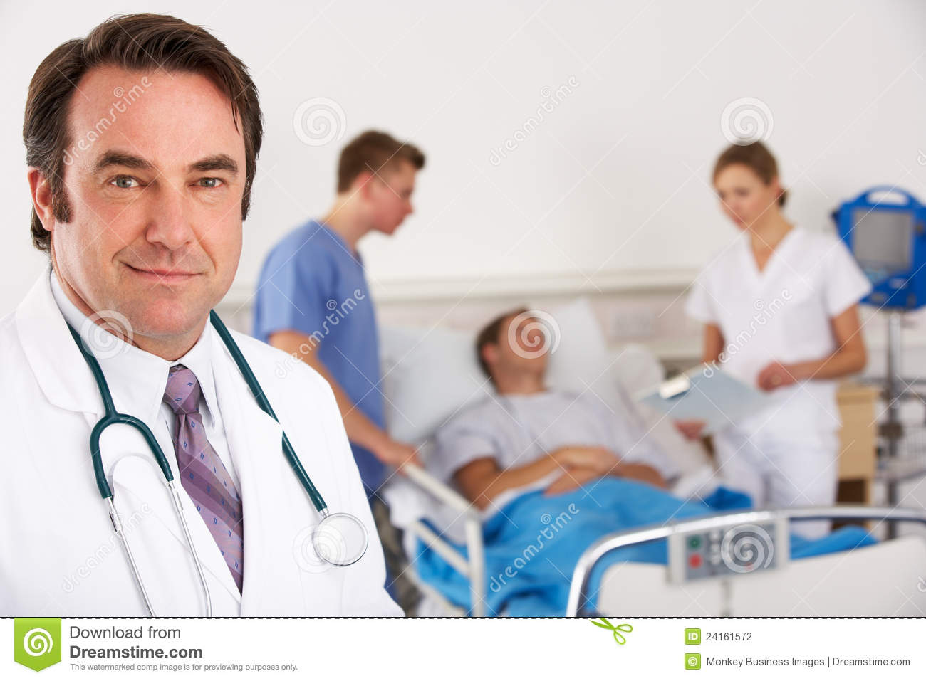 Male Doctor Tending To Female Patient - Horizontal Stock -9343