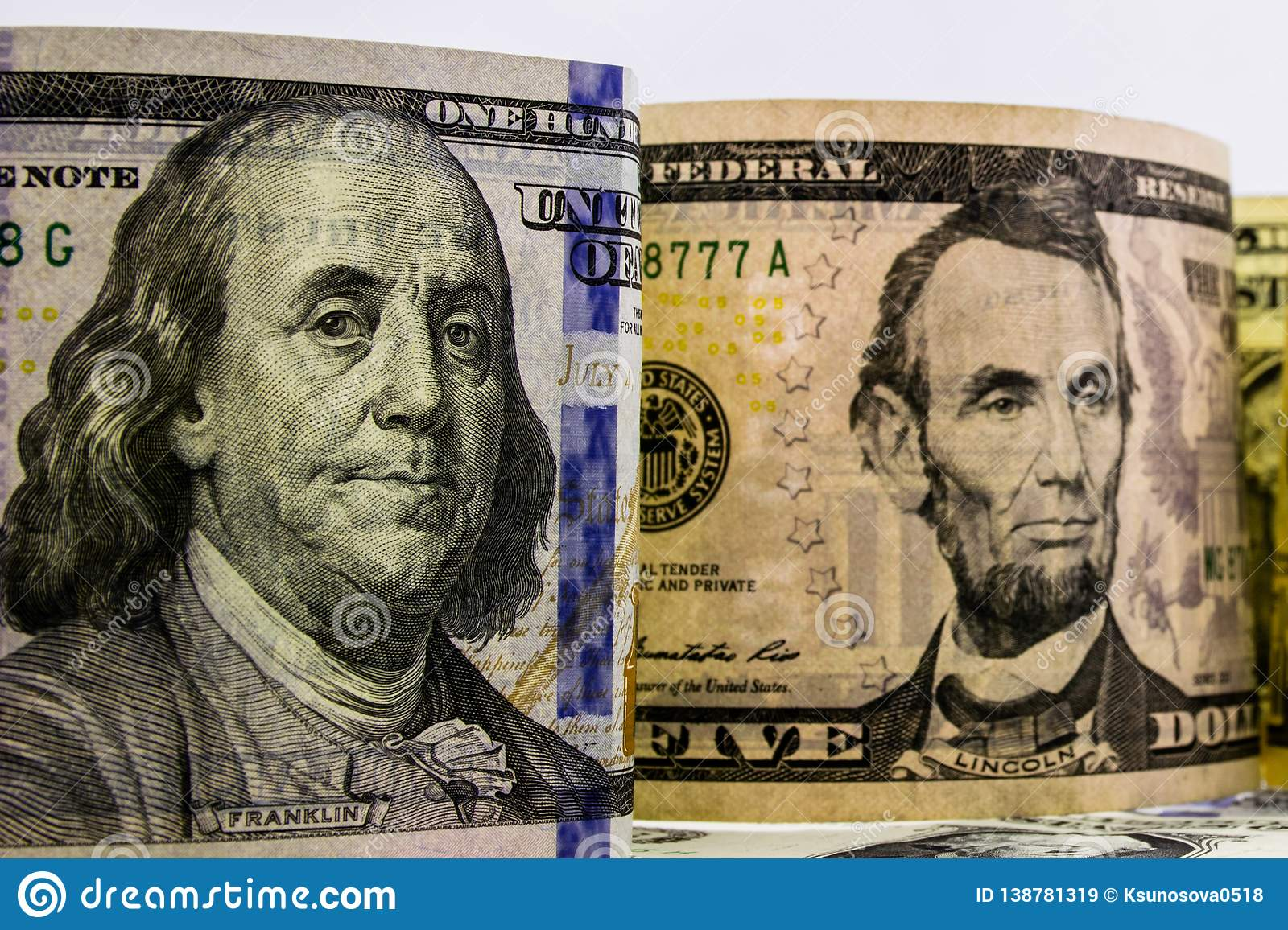 American dollars cash money. background from US dollars. different banknotes