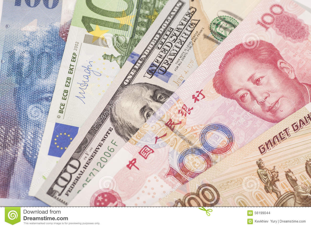 American dollars, European euro,Swiss franc,Chinese yuan and Russian Ruble bills