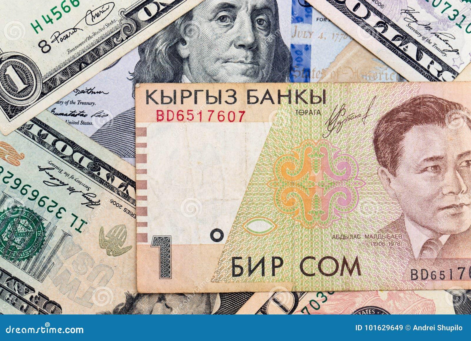 American dollars and Kyrgyz money