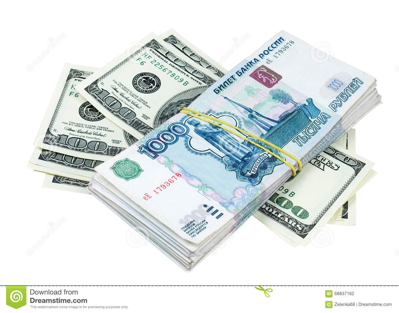 American dollars and Russian rubles