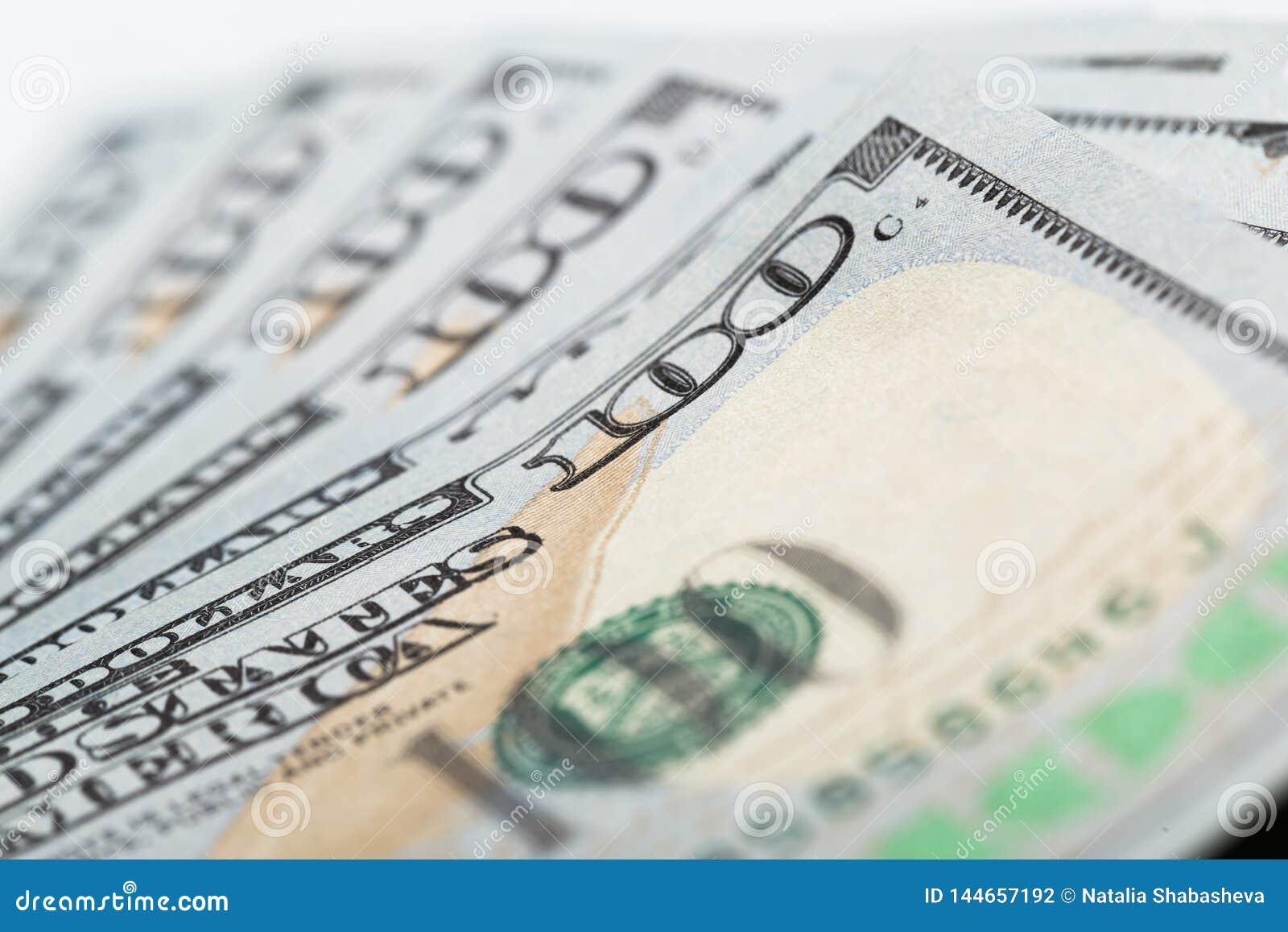 Close-up american dollar banknotes