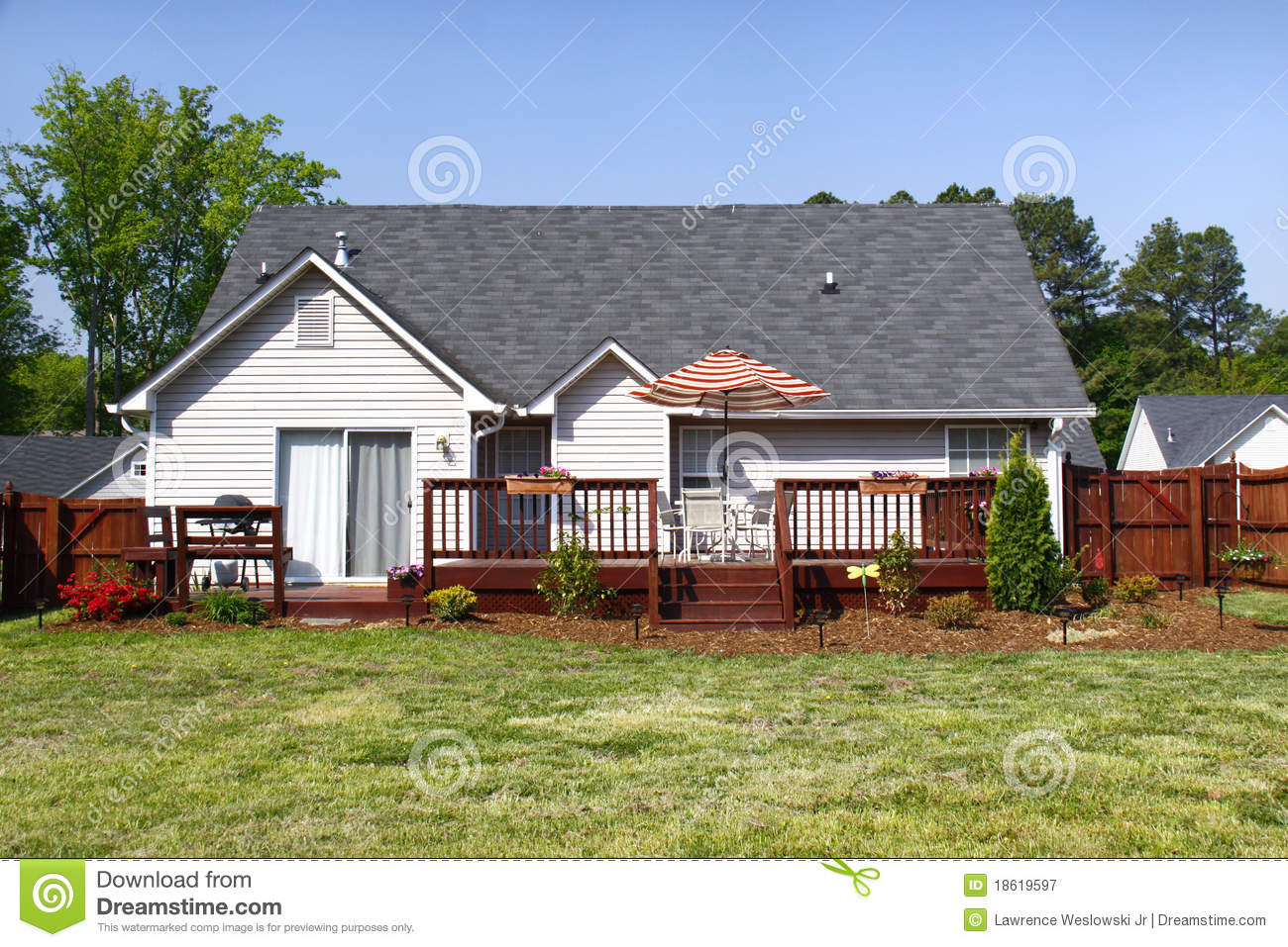American Dream Home Back Yard And Deck Stock Image