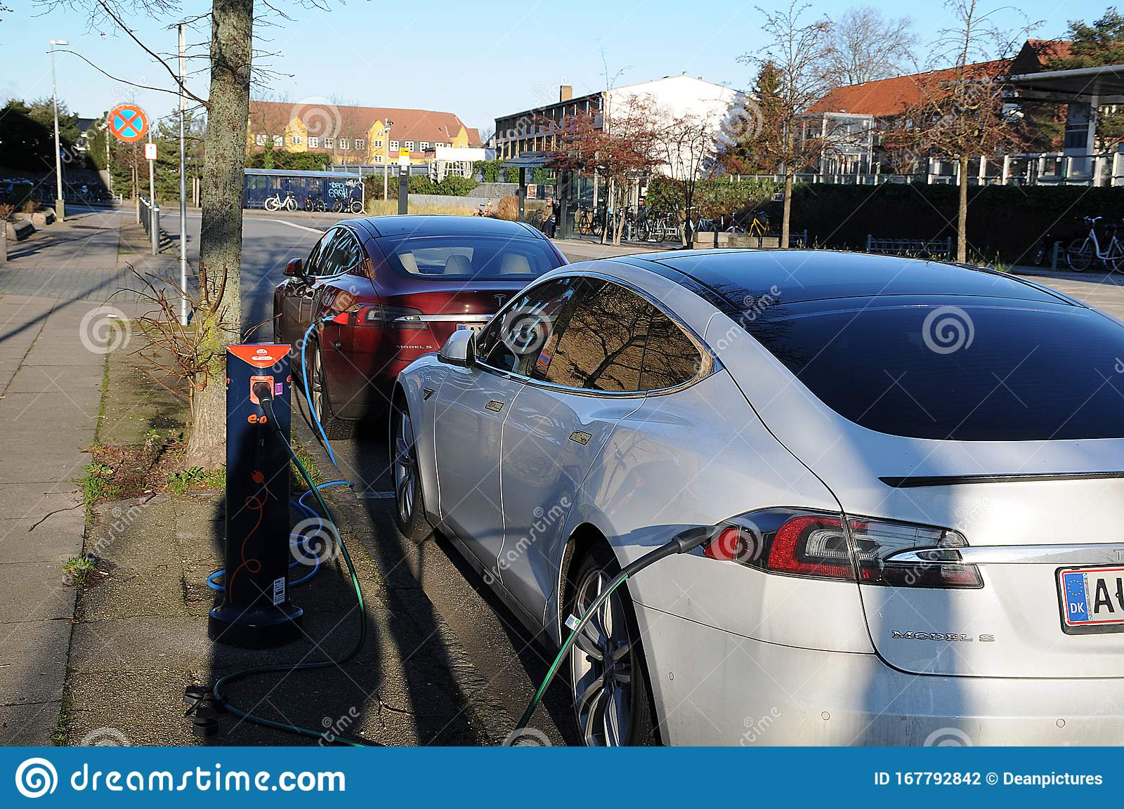 AMERICAN E_TESLA CAR AT CHARGE POINT IN COPENAHGEN ...